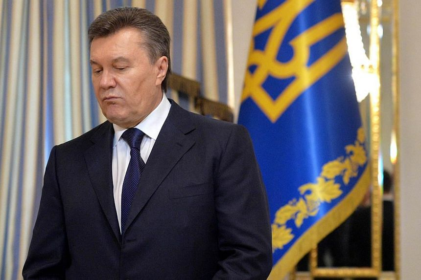 Ukraine's general prosecutor said on Friday, Feb 28, 2014, the Kiev would ask Moscow to extradite ousted President Viktor Yanukovych (above), who is thought to have fled to Russia and is expected to give a press briefing there later in the day. -- FI