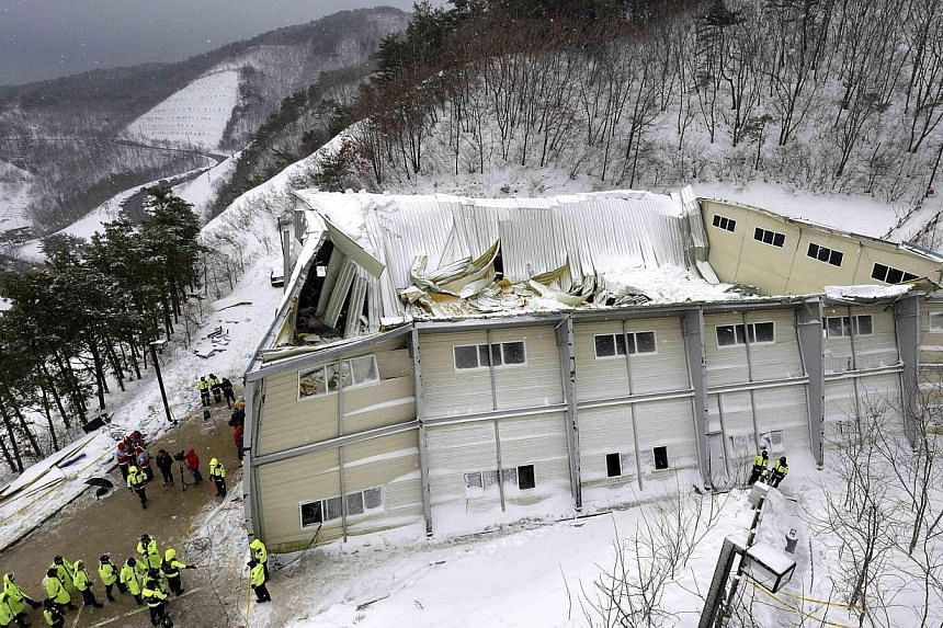 A collapsed resort building is seen in Gyeongju, about 375km south-east of Seoul, on Feb 18, 2014. South Korean police on Friday, Feb 28, 2014, blamed shoddy construction for the collapse last week of a student-packed gymnasium that killed 10 people,