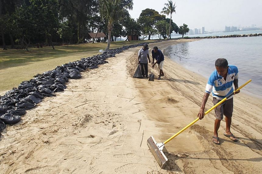 Workers clean up the beach at St John's Island on Feb 4, 2014. The waters at the beaches on Kusu and St John's Islands have now been declared free from oil pollution. -- ST FILE PHOTO: KEVIN LIM