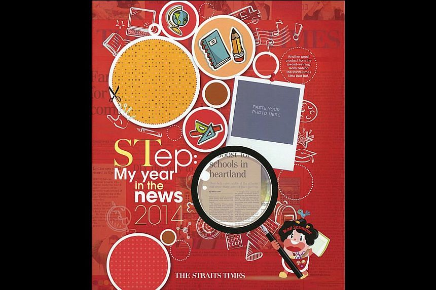 Puzzles, stickers, cut-out cards, even a word bank - all features of The Straits Times' new scrapbook for young learners called STep: My Year In The News 2014 (above).