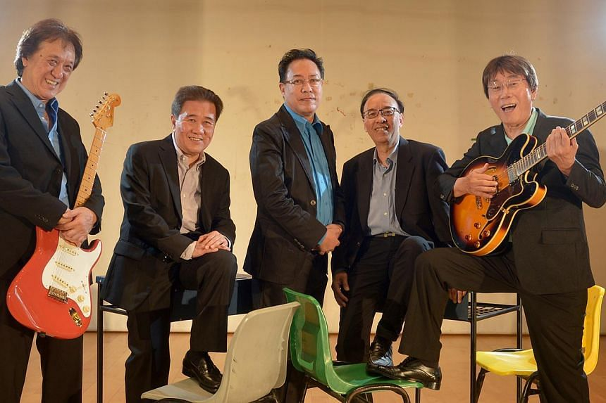 Guitarist and founder of The Quests Jap Chong (extreme right) is pictured with bandmates (from left) bassist Sam Toh, drummer Lim Wee Guan, singer Vernon Cornelius, and lead guitarist Raymond Leong. Chong, one ofSingapore's pioneer musicians, d