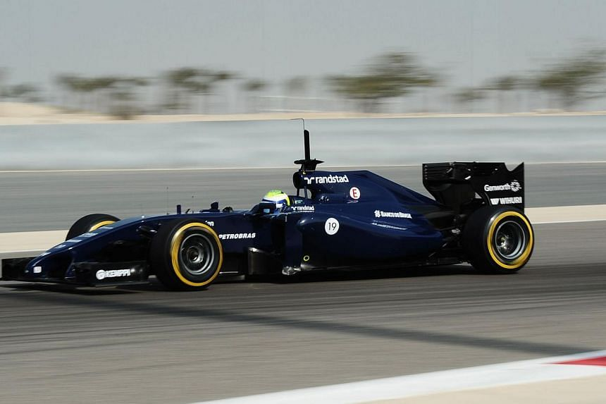 Felipe Massa of Williams F1 team drives on Feb 28, 2014, during a four-day testing period at Bahrain's Sakhir circuit ahead of the Bahrain Formula One Grand Prix. -- FILE PHOTO: AFP