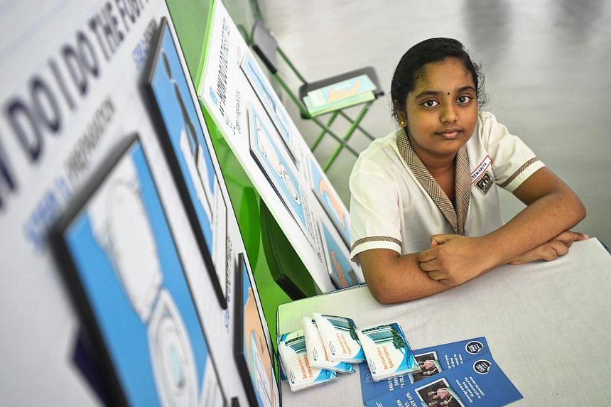 Ms Gunaselvan Eswiriya, 11, who will advise her elder loved ones to get tested for colorectal cancer. -- PHOTO: NATIONAL UNIVERSITY HOSPITAL