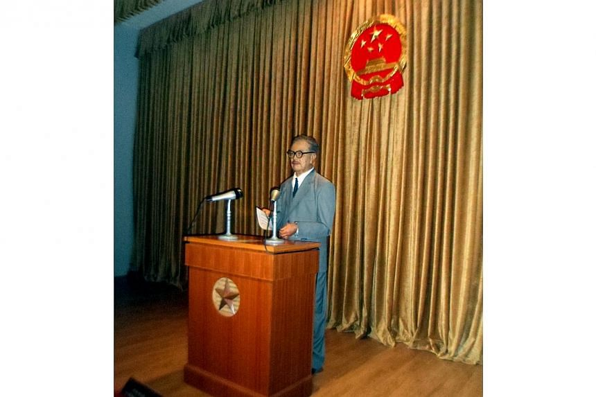 The image of Tan Kah Kee in a theatre in the memorial hall dedicated to him is made from wax but the voice that issues from the audio system is authentically his, recorded in the 1950s and replayed for the ears of all visitors. -- ST PHOTO: LARRY TEO