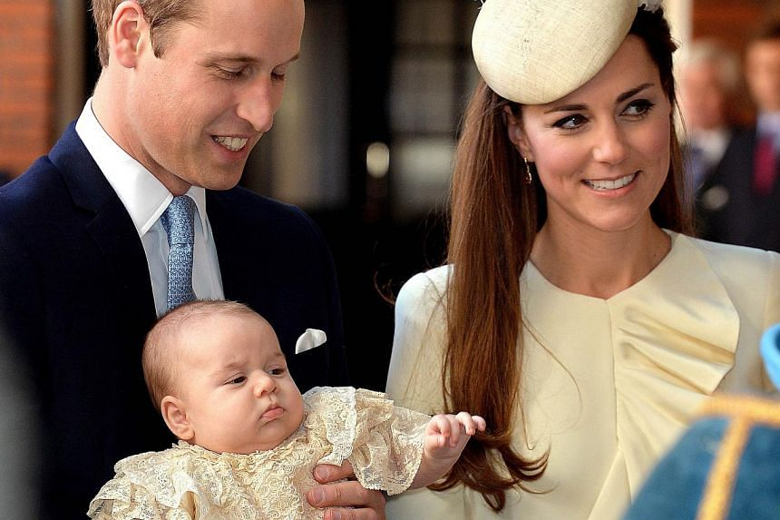 Prince William (left) and his wife Catherine will take their baby son Prince George with them on their tour of Australia and New Zealand next month, Kensington Palace confirmed on Mar 2, 2014.-- FILE PHOTO: AFP