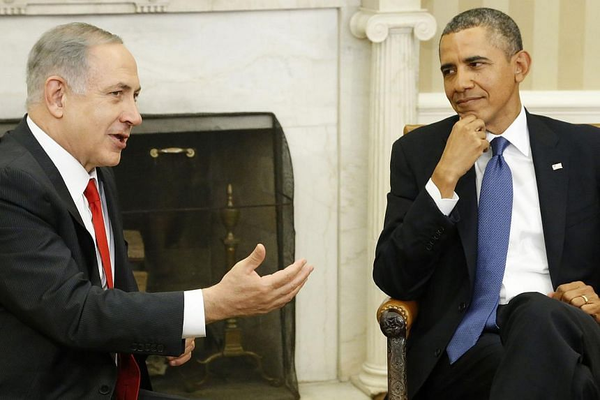 Israel's Prime Minister Benjamin Netanyahu (left) meets with U.S. President Barack Obama in the Oval Office of the White House in Washington on March 3, 2014. -- PHOTO: REUTERS