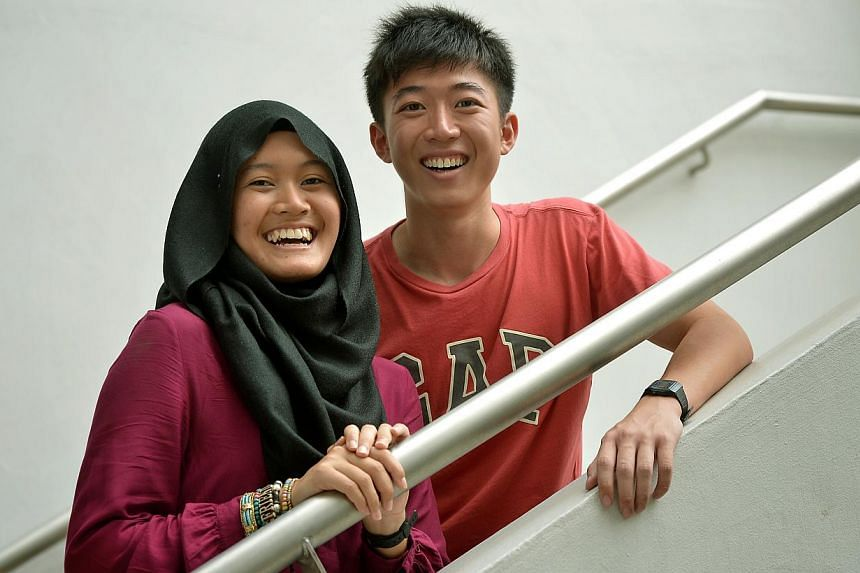 Pioneer Junior College students Nur Farhana Abdul Rahman, 18, and Yeo Shao Qi, 20, both scored four As for their A levels. Shao Qi's teachers rallied behind him, giving him extra lessons and even delivering lunch for him.