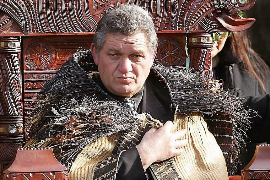 A file photo on Aug 21, 2013, shows Maori King Tuheitia Paki sitting on the carved wooden throne during his coronation ceremony at Turangawaewae Marae in Ngaruawahia, south of Auckland. New Zealand's Maori king has refused to meet Britain's Prince Wi