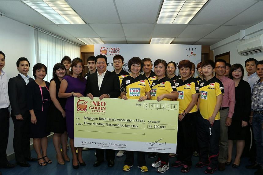 The Singapore Table Tennis Association (STTA) has signed a $300,000 cash sponsorship agreement with local business Neo Garden Catering. -- ST PHOTO: SINGAPORE TABLE TENNIS ASSOCIATION