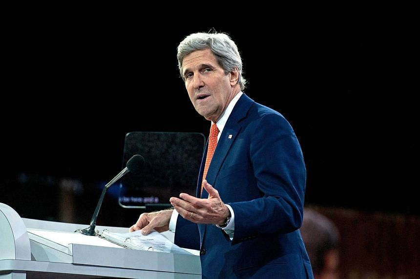 US Secretary of State John Kerry addresses the Israel Public Affairs Committee (AIPAC) policy conference in Washington on March 3, 2014. Kerry landed in Kiev on Tuesday for talks with Ukraine's interim government, amid an escalating crisis in Cr