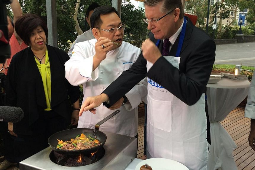 (From left) Ms Rose Yong, country manager for Malaysia, Singapore, Thailand, Myanmar and Brunei for Meat & Livestock Australia, Mr Richmond Lim, executive chef for Kuala Lumpur Convention Centre, and Dr Denis Napthine, Premier of Victoria. Dr Nap