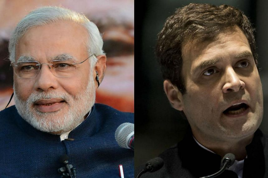 India's upcoming general elections will pit Mr Narendra Modi (left), son of a tea-stall seller, against Mr Rahul Gandhi, the Harvard and Cambridge-educated scion of India's biggest political dynasty. -- PHOTO: REUTERS/AFP