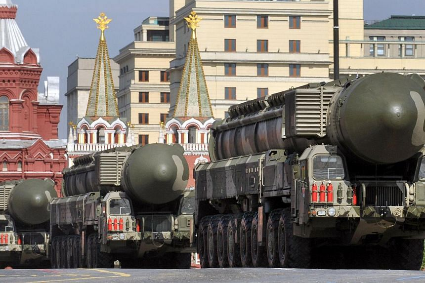 Russian Topol-M intercontinental ballistic misiles rolling at the Red Square in Moscow during the Victory Day military parade on May 9, 2010. Russia informed the United States in advance that it would carry out a test launch on Tuesday of an intercon