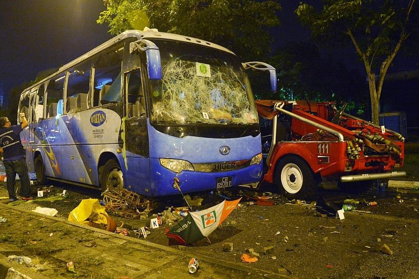 The private bus that ran over an Indian national, sparking off theLittle India riot.Some 10 rioters had attempted to overturn a police car parked near the accident scene, a foreign worker who was at the scene that night told the Committee