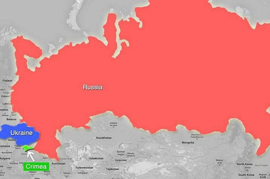 A map of Russia and Ukraine that Prime Minister Lee Hsien Loong postedon Facebook on Thursday, March 6, 2014. The ongoing crisis in Ukraine is a reminder that small countries must defend themselves and cannot rely solely on international treati