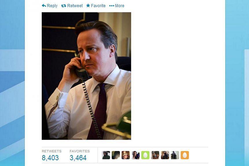 A screengrab of Mr David Cameron's Twitter feed. -- SCREENGRAB: TWITTER