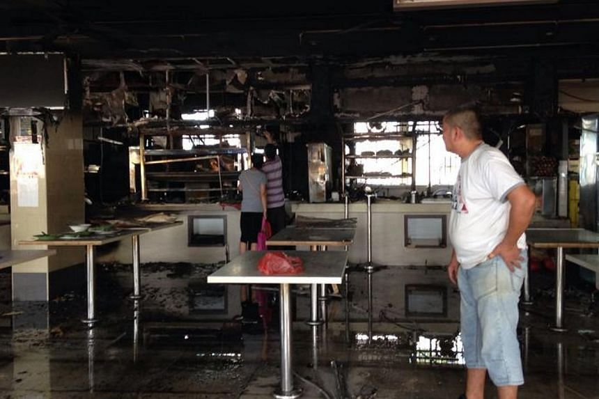 The damage caused by the fire at Marine Terrace coffee shop . -- ST PHOTO: JAMIE KOH