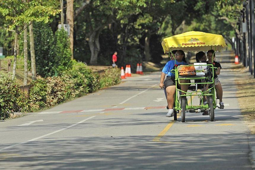 Keeping cool in the heat: Staying in the shade while exercising with this four-wheel family ride that is a cross between a trishaw and a bicycle at East Coast Park. -- ST FILE PHOTO: MATTHIAS HO