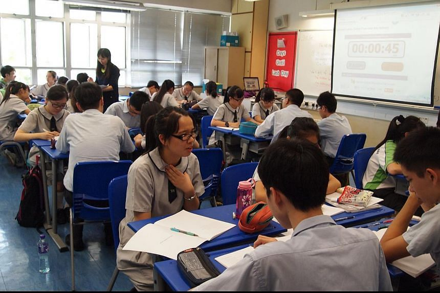 This file picture shows students at Hong Kong's Elegentia College in Sheung Shui. -- PHOTO: PEARL LIU