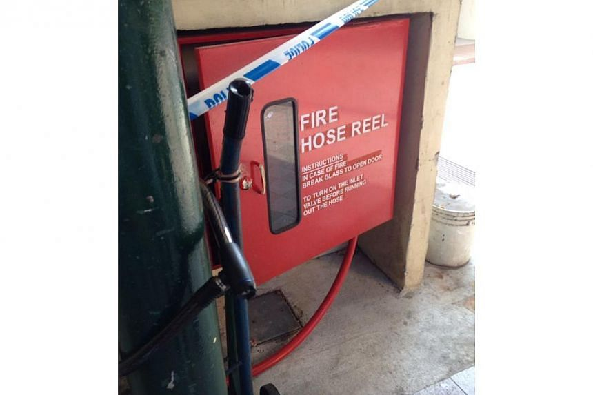 The water hose near the coffee shop at Block 59 Marine Terrace. -- PHOTO: ELSON LEE