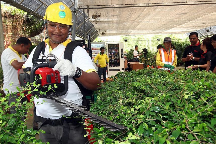 The labour movement's progressive wage model may be made compulsory in the landscaping sector as well, Senior Parliamentary Secretary for Manpower Hawazi Daipi said in Parliament on Friday. -- ST FILE PHOTO: LAU FOOK KONG