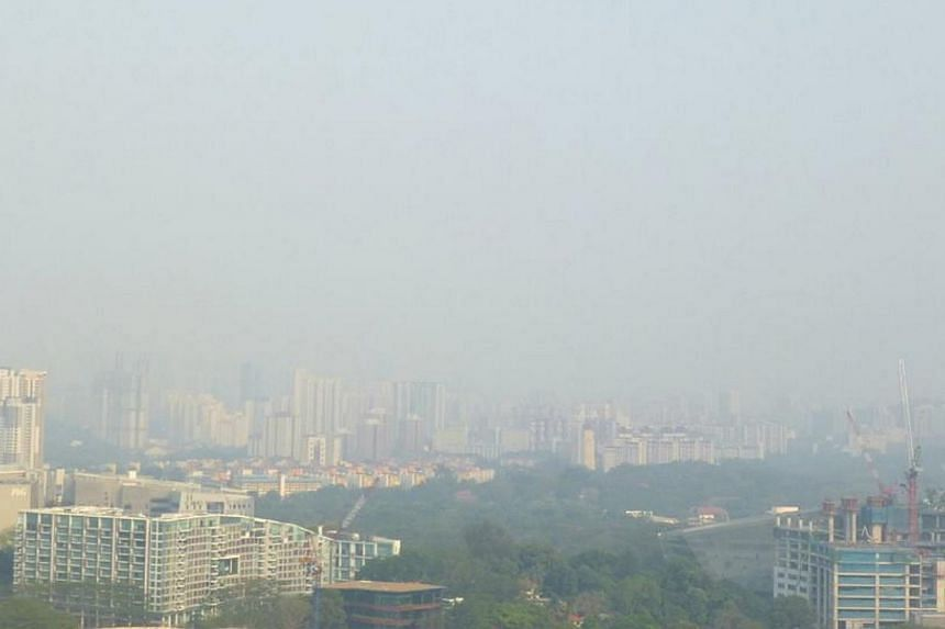 A slight haze is seen in the Dover Road area at 5.20pm on Thursday, March 7, 2014. -- PHOTO:JESS THIA