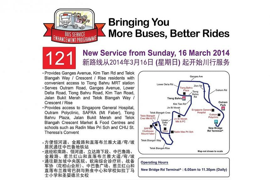 SBS Transit Bus Service 121's route map. Thenew bus service will ply between Telok Blangah and the Tiong Bahru and Outram MRT stations from next Sunday.-- PHOTO: LAND TRANSPORT AUTHORITY