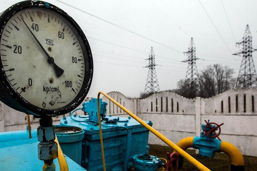 Valves of a gas pipe-line in a gas station not far from Kiev on March 4, 2014. Russia threatened on Friday to cut off gas supplies to Ukraine after the West warned of sanctions and pro-Kremlin gunmen blocked a foreign observer mission aimed at defusi