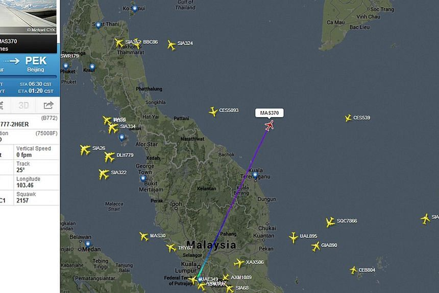 This image courtesy of Flightradar24, shows the flight track of Malaysian Airlines flight 370 on March 7, 2014. Singapore's Ministry of Foreign Affairs is closely monitoring the status of the missing Malaysia Airlines flight and has been in touch wit