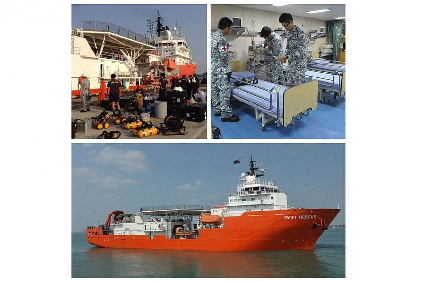 MV Swift Rescue joins the search effort for the missing Malaysian Airlines flight MH370 in the South China Sea. -- PHOTO: SINGAPORE NAVY VIA FACEBOOK