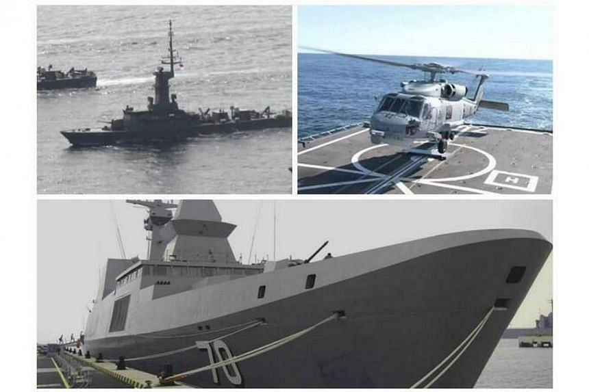 Singapore has sent two warships and a naval helicopter to help in the six-country search for the Malaysia Airlines (MAS) plane that went missing on Saturday. -- PHOTO: SINGAPORE ARMY VIA TWITTER