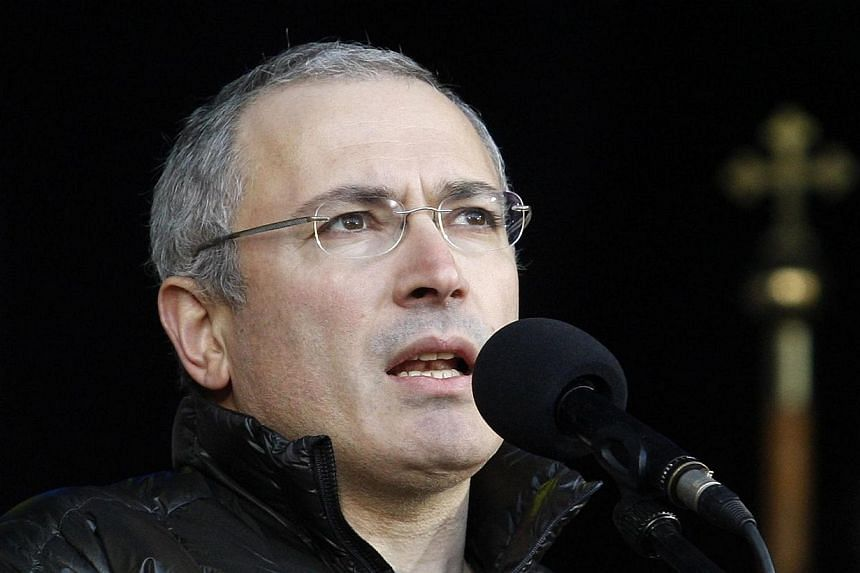 Mikhail Khodorkovsky, the recently freed former head of the Russian oil company Yukos, addresses an anti-war rally in Independence Square in the Ukrainian capital Kiev on March 9, 2014. Former Russian oligarch Mikhail Khodorkovsky has submitted a req