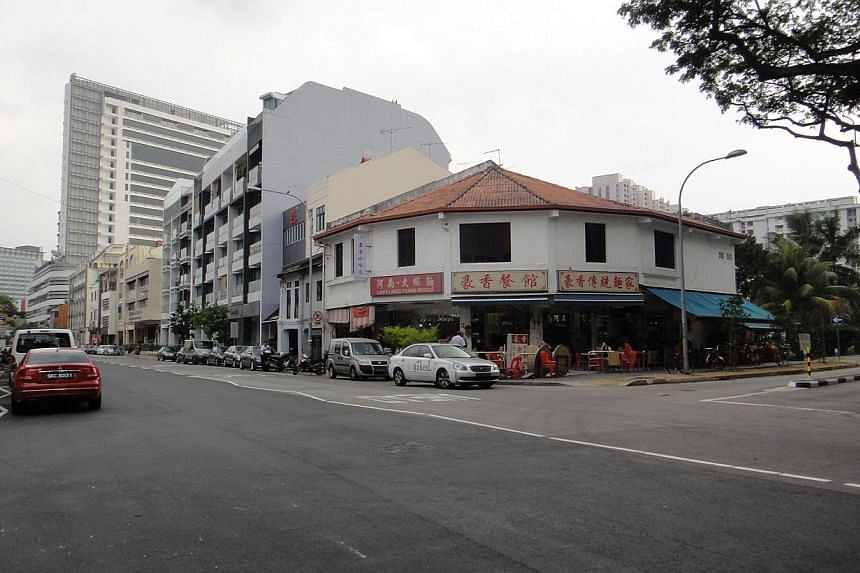 A two-storey shophouse building at the junction of Rangoon Road and Dorset Road was put up for sale via a tender exercise on Monday, March 9, 2014. -- PHOTO: CBRE