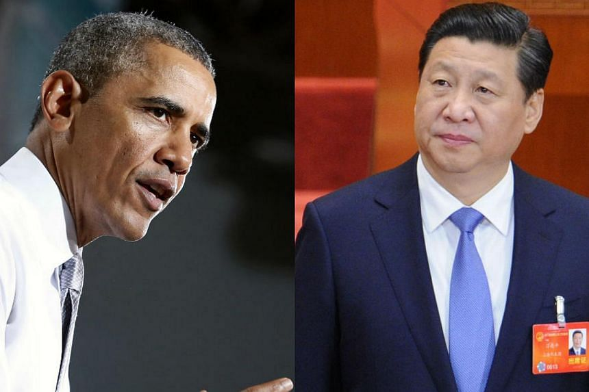 US President Barack Obama (left) talked with Chinese President Xi Jinping on Sunday to discuss finding a way to peacefully resolve the crisis in Ukraine's Crimean region.-- FILE PHOTOS: REUTERS, AFP