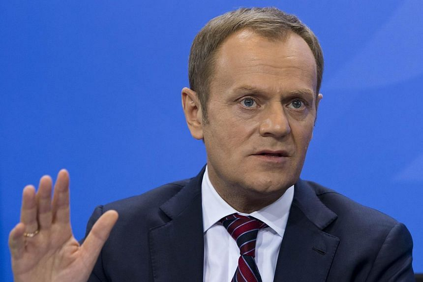 Polish Prime Minister Donald Tusk gestures during a press conference following talks with the German Chancellor at the Chancellery in Berlin on Jan 31, 2014. Germany's reliance on Russian natural gas poses a threat to European sovereignty, Polish Pri