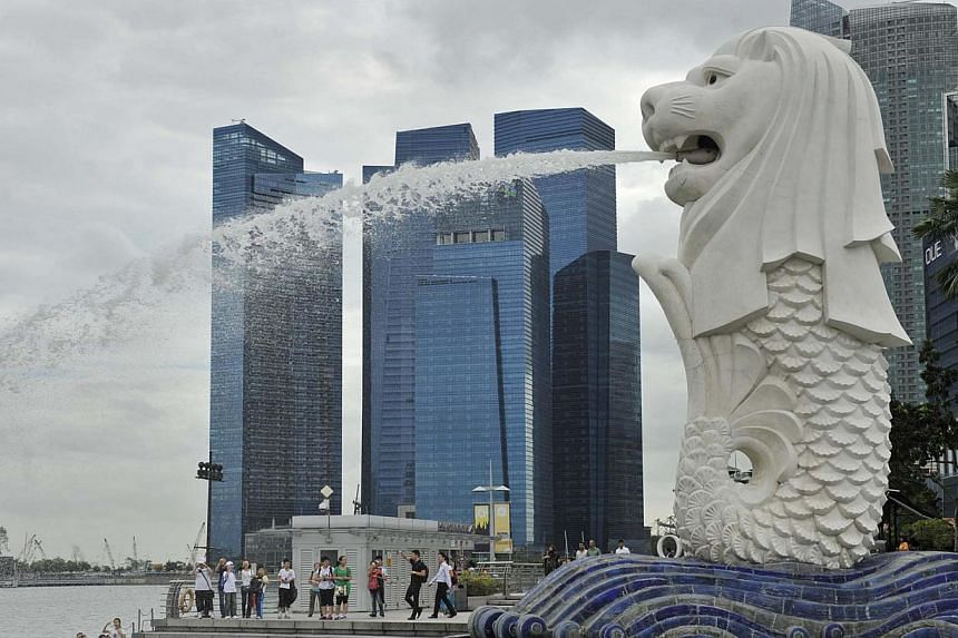 The two Merlion statues in the Merlion Park at One Fullerton will undergo regular cleaning and maintenance from March 15 to April 7. -- ST FILE PHOTO: RAJ NADARAJAN
