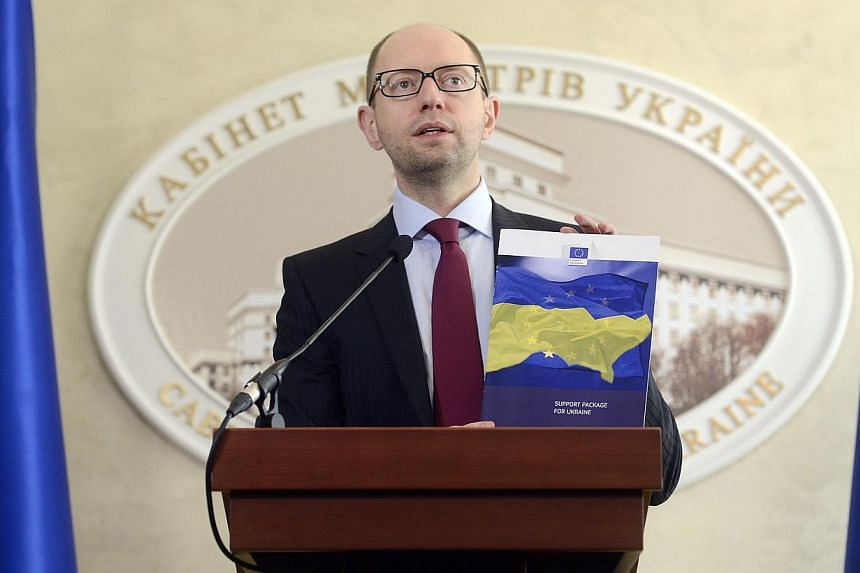 Ukrainian Prime Minister Arseny Yatseniuk attends a news conference at the Ukrainian cabinet of ministers building in Kiev, March 7, 2014. MrYatseniuk will address the United Nations Security Council about the situation in Crimea on Thursday, I