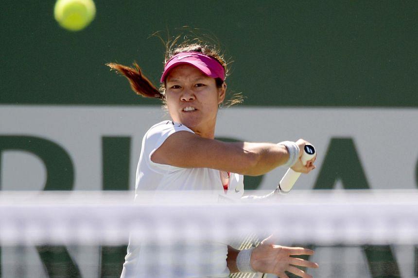 Li Na during her match against Karolina Pliskova during the BNP Paribas Open at the Indian Wells Tennis Garden. -- PHOTO: REUTERS