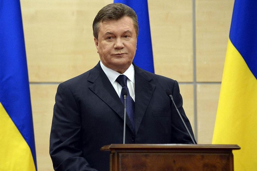 Deposed Ukrainian president Viktor Yanukovych attends his press-conference in southern Russian city of Rostov-on-Don, on March 11, 2014. Mr Yanukovych on Tuesday, March 11, 2014, said that he remained Ukraine's legitimate president and commander-in-c