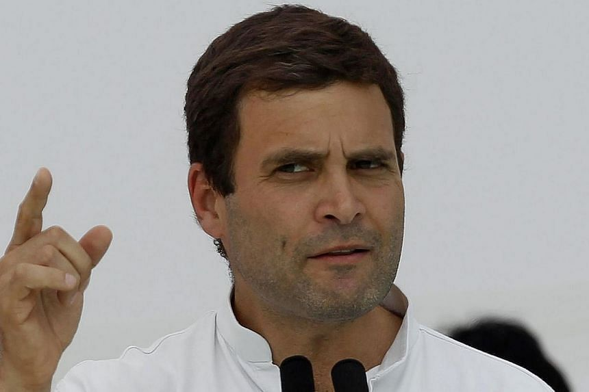Mr Rahul Gandhi, India's ruling Congress party vice-president and son of Congress chief Sonia Gandhi, addresses his supporters during a rally ahead of the 2014 general elections at Balasinor town in the western Indian state of Gujarat on March 11, 20