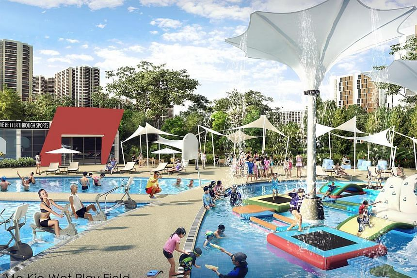 An artist's impression of the Ang Mo Kio Wet Play Field, which will be redeveloped from the existing Ang Mo Kio Swimming Complex.The Government will commit $1.5 billion to give Singaporeans easier access to sports and recreational facilities by