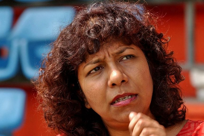Singapore has to do more in terms of values training on how guest workers are treated here, Ms Braema Mathi, from local human rights group Maruah, which was invited by the Committee of Inquiry into the unrest in Little India. -- ST FILE PHOTO: JOYCE