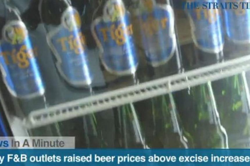 In today's The Straits Times News In A Minute video, we look at how a survey found that many vendors had increased the price of Tiger beer above the additional tax increase, among other issues. -- PHOTO: SCREENGRAB