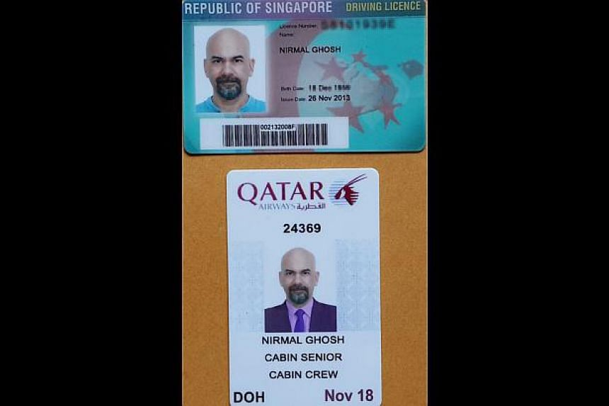 A fake Singapore driving licence and a fakeQatar Airways crew card.-- ST PHOTO: NIRMAL GHOSH