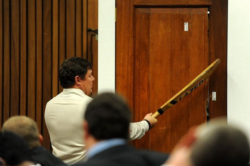 Police forensic expert Gerhard Vermeulen hitting the door with a cricket bat in a re-enactment of how South African Paralympian Oscar Pistorius broke down the door of the toilet where he shot dead his girlfriend during the trial's cross-examination a