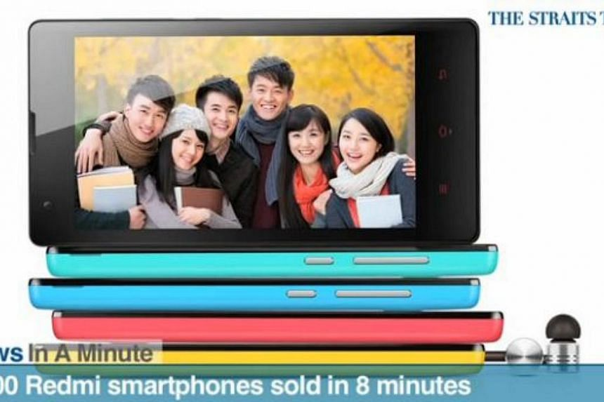 In today's The Straits Times News In A Minute video, we look at how 5,000 Redmi smartphones by China phonemaker Xiaomi were snapped up in eight minutes. -- PHOTO: SCREENGRAB
