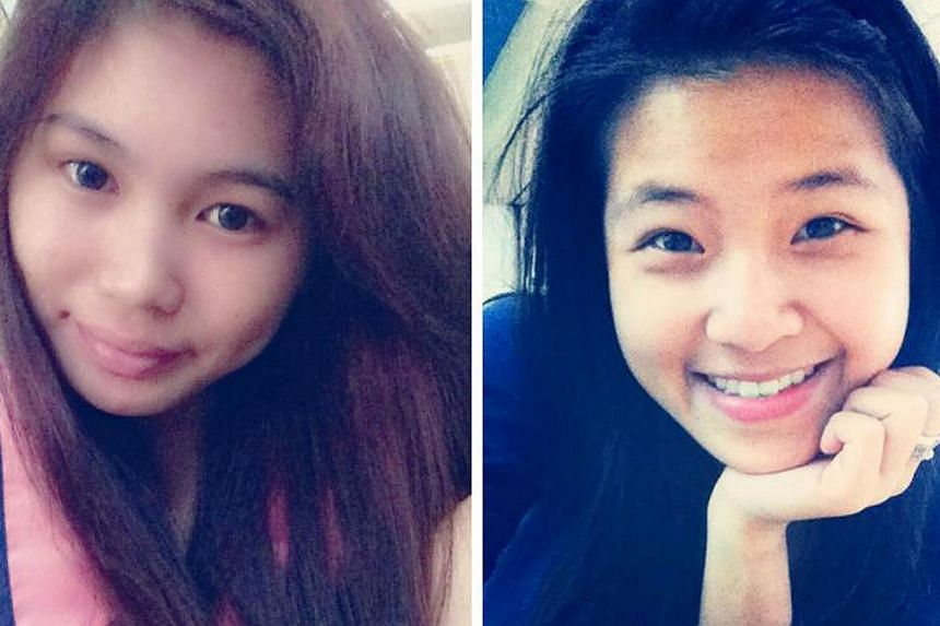 Two teenage girls, Ms Phoebe Lo (left), 19, and Ms Michelle Phoe, 18,were killed when the car they were passengers in crashed into a tree early yesterday. -- PHOTOS: FACEBOOK PAGES OF PHOEBE LO ANDMICHELLE PHOE