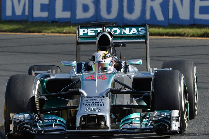 Mercedes driver Lewis Hamilton of Britain powers through a corner during the second practice session of the Formula One Australian Grand Prix in Melbourne, on March 14, 2014. Lewis Hamilton and Nico Rosberg showed that Mercedes could be the team to b
