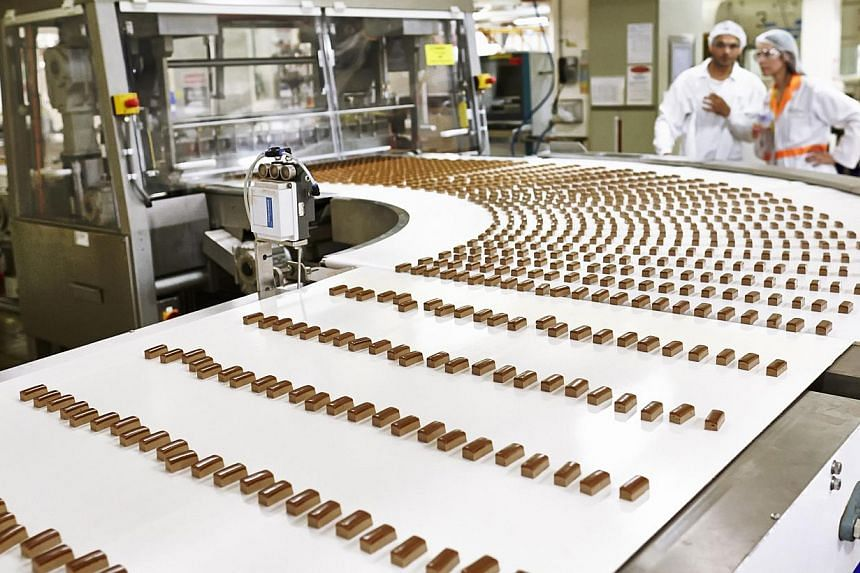 Minature chocolate bars are being produced at the Mondelez International chocolate factory. -- PHOTO:MONDELEZ INTERNATIONAL