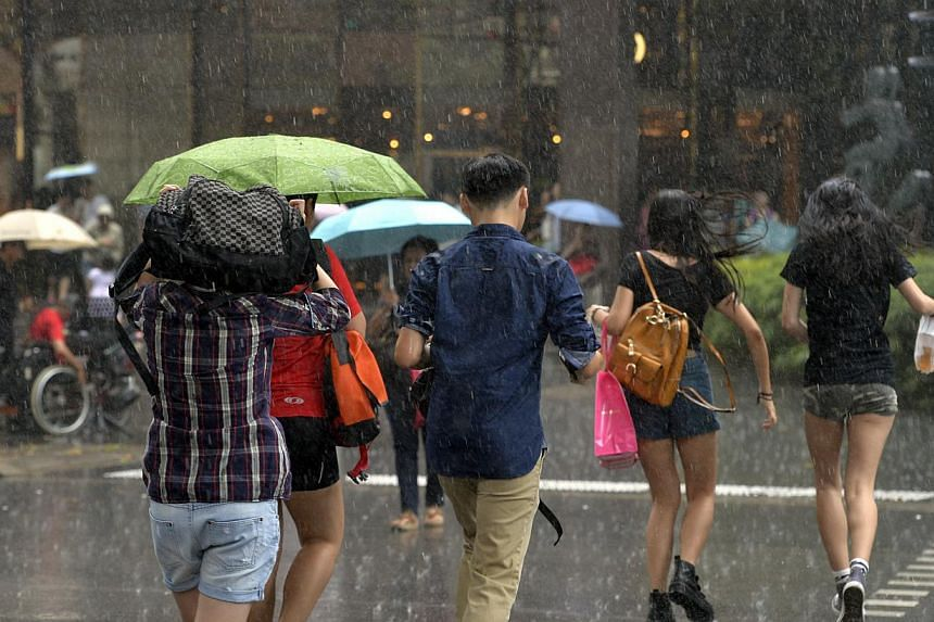 Photos of shoppers scrambling for cover when some light drizzle followed by a sudden 10 minutes of heavy downpour caught many by surprise along Orchard Road. Rain came back to Singapore on Water Day, which falls today.-- ST PHOTO:DESMOND